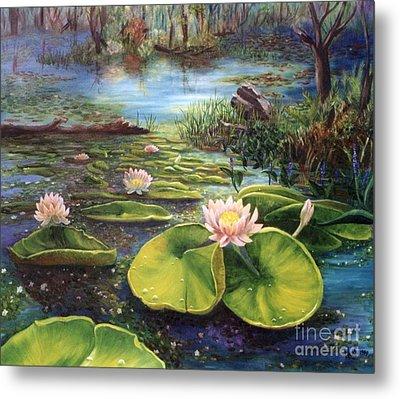 Waterlilies Metal Print by Renate Nadi Wesley