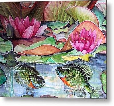 Waterlillies And Blue Giles Metal Print by Bette Gray