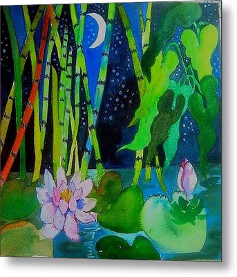 Waterlillies At Midnight Metal Print