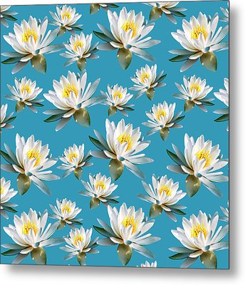 Metal Print featuring the mixed media Waterlily Pattern by Christina Rollo