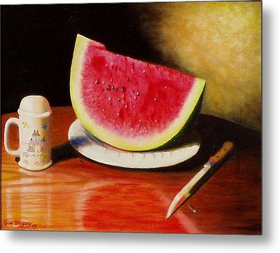 Metal Print featuring the painting Watermelon Time by Gene Gregory