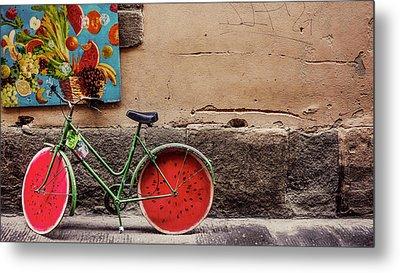 Watermelon Wheels Metal Print by Happy Home Artistry