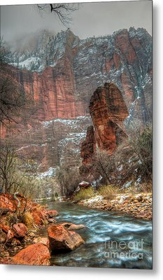 Waters Rushing At The Temple Of Sinawava Metal Print by Irene Abdou