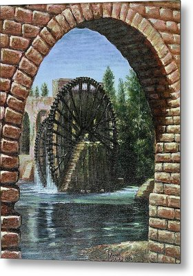 Metal Print featuring the painting Waterwheels  by Laila Awad Jamaleldin
