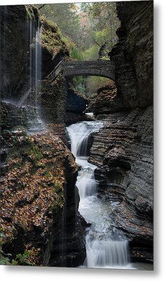 Metal Print featuring the photograph Watkins Glen Rainbow Falls by Joshua House