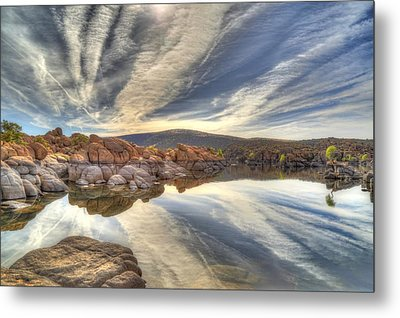 Watson Lake Reflections Metal Print by Donna Kennedy