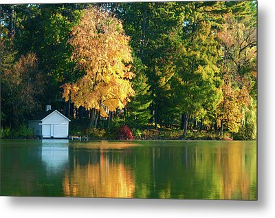 Waupaca Chain Boathouse Metal Print by Trey Foerster