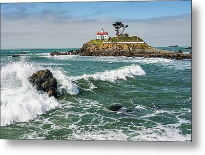 Metal Print featuring the photograph Wave Break And The Lighthouse by Greg Nyquist