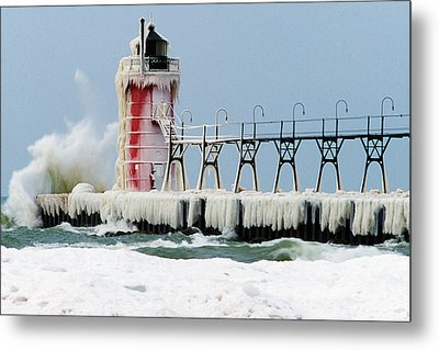 Wave Crashing On Snow-covered South Metal Print by Panoramic Images