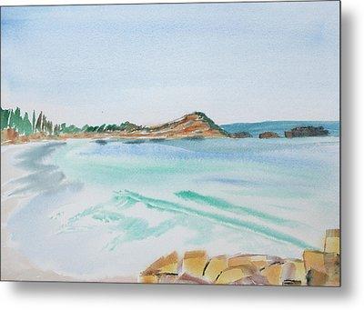 Waves Arriving Ashore In A Tasmanian East Coast Bay Metal Print