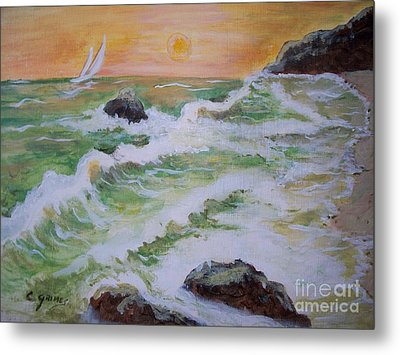 Waves Ashore Metal Print by Carol Grimes