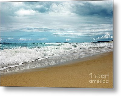Metal Print featuring the photograph Waves Clouds And Sand By Kaye Menner by Kaye Menner