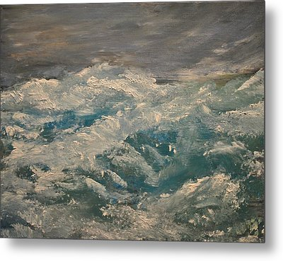 Metal Print featuring the painting Waves by Evelina Popilian