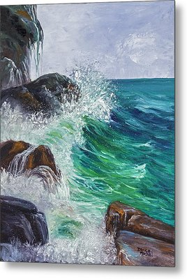 Metal Print featuring the painting Waves On Maui by Darice Machel McGuire