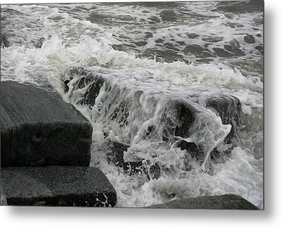 Waves Splashing Stones 2 Metal Print