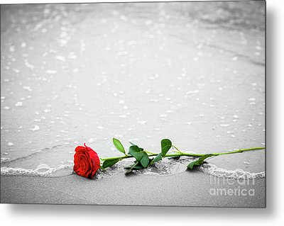 Waves Washing Away A Red Rose From The Beach. Color Against Black And White. Love Metal Print by Michal Bednarek