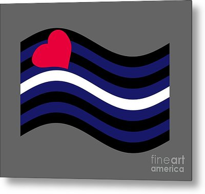 Waving Leather Flag Metal Print by Frederick Holiday