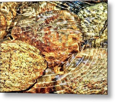 Wavy Water On Colorful Rocks Metal Print