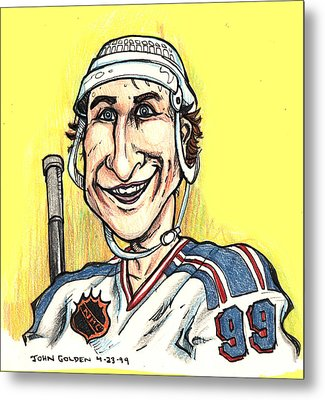 Metal Print featuring the drawing Wayne Gretsky Caricature by John Ashton Golden