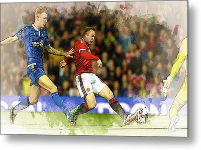 Wayne Rooney Of Manchester United Scores Metal Print