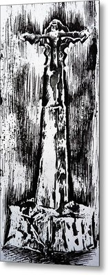 Wayside Cross Metal Print by Lucy Deane