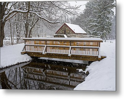 Wayside Inn Grist Mill Covered In Snow Bridge Reflection Metal Print by Toby McGuire