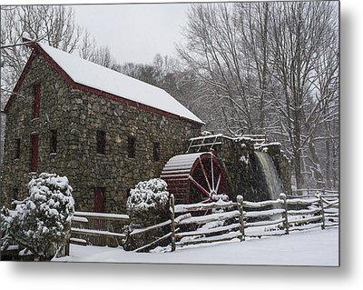 Wayside Inn Grist Mill Covered In Snow Fence Metal Print by Toby McGuire