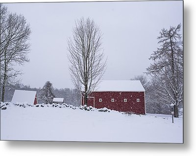 Wayside Inn Grist Mill Covered In Snow Storm 2 Metal Print by Toby McGuire