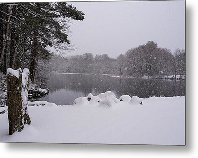 Wayside Inn Grist Mill Covered In Snow Storm Pond Metal Print by Toby McGuire