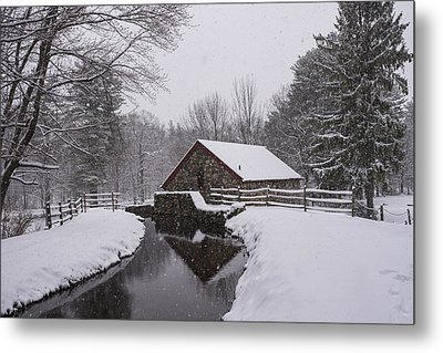 Wayside Inn Grist Mill Covered In Snow Storm Reflection Metal Print by Toby McGuire