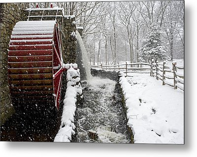 Wayside Inn Grist Mill Covered In Snow Storm Side View Metal Print by Toby McGuire