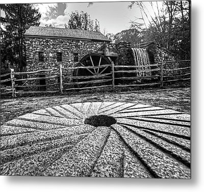 Wayside Inn Grist Mill Millstone Black And White Metal Print by Toby McGuire