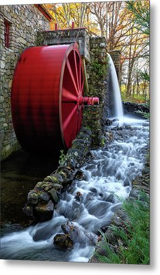 Wayside Inn Grist Mill Water Wheel Metal Print by Betty Denise