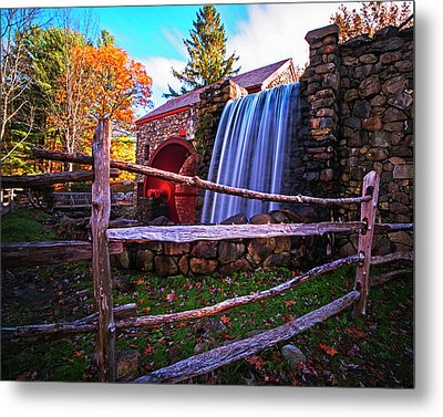 Wayside Inn Grist Mill Waterfall Sudbury Ma Metal Print by Toby McGuire