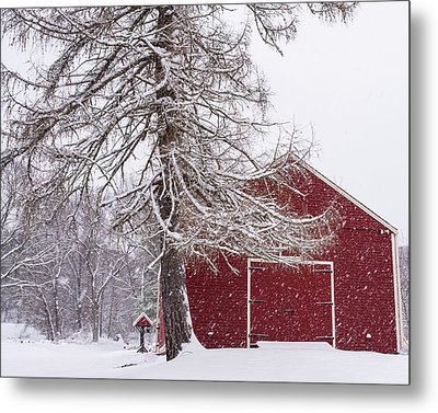 Wayside Inn Red Barn Covered In Snow Storm Reflection Metal Print by Toby McGuire