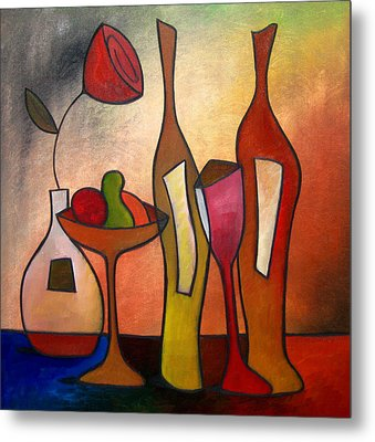 We Can Share - Abstract Wine Art By Fidostudio Metal Print by Tom Fedro - Fidostudio