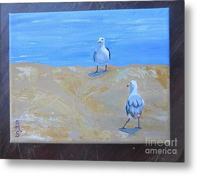 We First Met On The Beach Metal Print by Stella Sherman