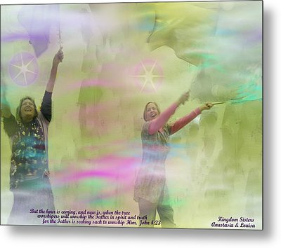We Worship In Spirit And In Truth II With Inspirational  Verse Metal Print