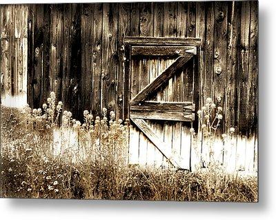 Weathered Barn Door Metal Print by Gray  Artus