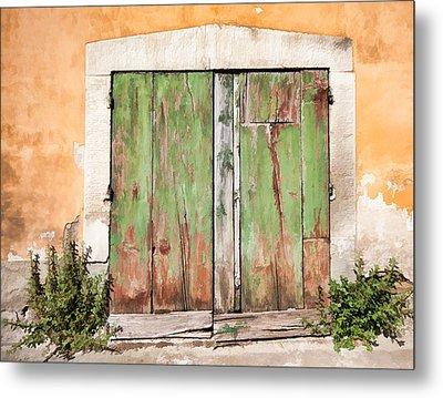 Weathered Green Door Of Tuscany Metal Print