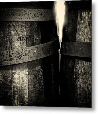 Metal Print featuring the photograph Weathered Old Apple Barrels by Bob Orsillo