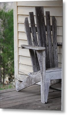 Metal Print featuring the photograph Weathered Porch Chair by Debbie Karnes