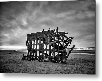 Weathered Rusting Shipwreck In Black And White Metal Print by Garry Gay