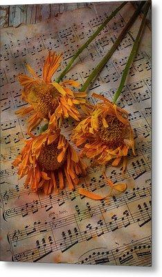 Weathered Sunflowers Metal Print