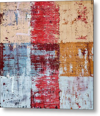 Weathered Wood Colorful Crossing 1 Of 3 Metal Print by Carol Leigh