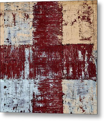 Weathered Wood Colorful Crossing 2 Of 3 Metal Print by Carol Leigh
