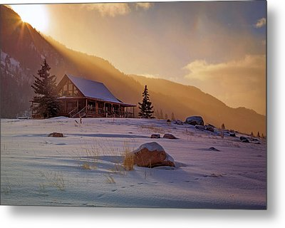 Metal Print featuring the photograph Weber Canyon Cabin Sunrise. by Johnny Adolphson