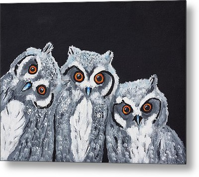 Metal Print featuring the painting Wee Owls by Scott Wilmot
