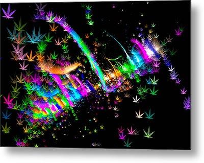 Weed Art - Colorful Fractal Joint Metal Print