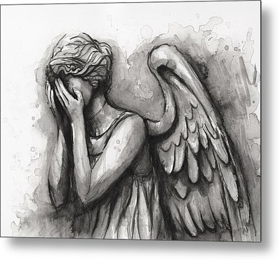 Weeping Angel Watercolor Metal Print by Olga Shvartsur